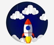 Paper art carving the rocket flying in space. Concept business idea, startup, exploration. style. Paper art carving the rocket flying in space. Concept business stock illustration