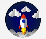 Paper art carving the rocket flying in space. Concept business idea, startup, exploration. Vector illustration. In modern papercut style stock illustration