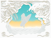 Paper art carving of sea Royalty Free Stock Photography