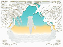 Paper art carving of sea Royalty Free Stock Photos