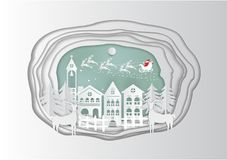 Paper art carving of winter holiday snow in town background with santa, deer and tree, vector illustration Stock Images