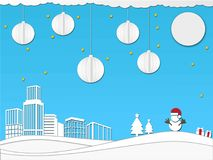 Paper art christmas festival design concept in blue color  illustration. Paper art christmas festival design concept in blue color background  illustration Royalty Free Stock Photos