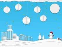 Paper art christmas festival design concept in blue color  illustration. Paper art christmas festival design concept in blue color Stock Images