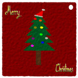 Paper art, Christmas Greeting Card, Merry Christmas, christmas tree illustration Royalty Free Stock Photo