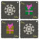 Paper art, Christmas Greeting Card, Merry Christmas, Snowflake and gift illustration Royalty Free Stock Photos