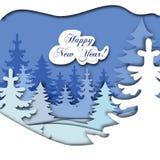 Paper art christmas. Winter snow merry xmas happy holiday season vector illustration landscape tree card greeting cut craft nature sky village home Stock Image