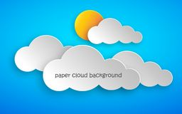 Paper art of clouds and sun. Vector illustration. Paper art of clouds and yellow sun on blue background. Vector illustration. Abstract background with cloud vector illustration