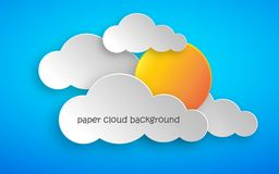 Paper art of clouds and sun. Vector illustration. Paper art of clouds and yellow sun on blue background. Vector illustration. Abstract background with cloud royalty free illustration