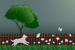Paper art concept of nature,dog catching butterfly in the garden. Vector illustration Stock Photos