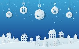 Free Paper Art Concept Of Christmas Balls Hanging With Ribbon In Snowy Village Scene. Merry Christmas And Happy New Year. Royalty Free Stock Images - 103834269