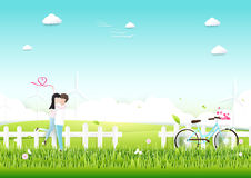 Paper art, Couple with bicycle in garden romantic love concept. Royalty Free Stock Photography