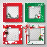 Paper art and craft of Christmas border frame photo design set,t. Ransparency,vector royalty free illustration