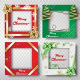Paper art and craft of Christmas border frame photo design set,t. Ransparency,ribbon,vector vector illustration
