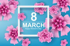 Paper art and craft of 8 march with flower women`s day and origa. Mi concept, vector,illustration vector illustration