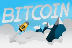 Paper art of currancy rocket bitcoin luanch to the sky over the mountain vector eps 10, in concept stock finance currency exchange. Paper art of currancy rocket Stock Images