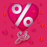 Paper heart shape with SALE royalty free illustration