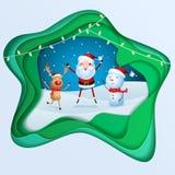 Paper art depth concept of christmas. Cheerful santa claus, snowman, reindeer are christmas companion. christmas snow scene. Royalty Free Stock Image