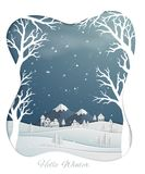 Paper art design with countryside and snow covered hills in winter season royalty free illustration