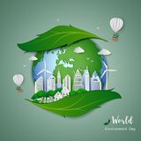 Paper art design of eco friendly and save the environment conservation concept,clean city on leaf shape abstract background. Vector illustration vector illustration