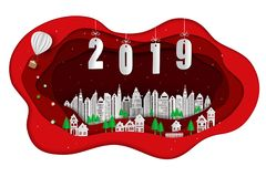 Paper art design of happy new year 2019 with white city on red scene stock images