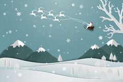 Paper art design with Santa Claus floating over the village in winter season Royalty Free Stock Photos