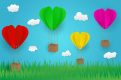 Paper art design style,ballon cloud grass with nature, ecology i. Dea. illustration Royalty Free Stock Photo