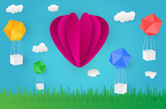 Paper art design style,ballon cloud grass with nature, ecology. Idea. illustration Royalty Free Stock Photography
