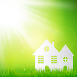 Paper art design style,house with grass, sun, nature ecology  Stock Photos