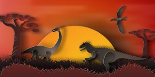 Paper art of Dinosaur in forest with sunset,orange,night,vector,