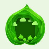 Paper art of eco park on green leaf shape. Origami concept and ecology idea. Royalty Free Stock Images