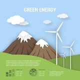 Paper art ecological banner green energy. Paper art with shadow ecological banner green energy with windmills. Clean nature landscape and alternative energy Stock Photo