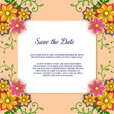 Paper art flowers background with sheet of paper. Floral square frame. Vector card illustration. Backdrop with paper royalty free illustration