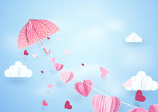 Paper art fly umbrella hanging string with hearts mobile Royalty Free Stock Images