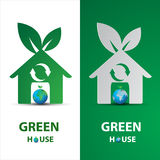 Paper art of Green my house logo with eco concept Stock Photography