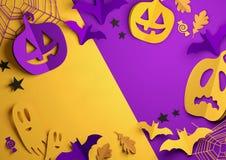 Paper Art - Happy Halloween Background vector illustration