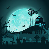 Paper art. Happy halloween card. Vector cut style illustration.  Royalty Free Stock Photos