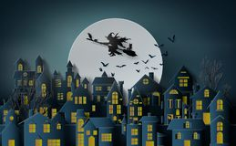 Paper art of happy halloween. Witch riding a broom flying in the sky over the abandoned village stock illustration