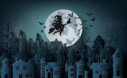 Witch riding a broom flying in the sky over the abandoned villag. Paper art of happy halloween, Witch riding a broom flying in the sky over the abandoned village royalty free illustration