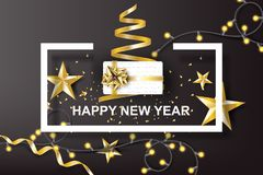 Paper art of Happy New Year with golden gift bow background.vect stock illustration
