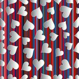 Paper art heart confetti seamless pattern on striped usa color style background. Stock Images