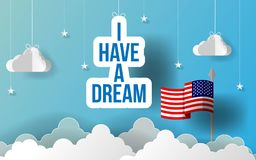 Paper art I have a dream slogan motto. Happy Martin Luther King Day paper art. American Flag hanging with paper origami clouds. Ve stock illustration