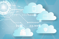 Paper art of Icon Web cloud technology business abstract backgro Royalty Free Stock Photography