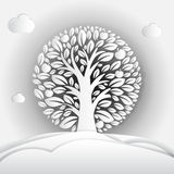 Paper art illustration of apple tree in circle. Royalty Free Stock Image