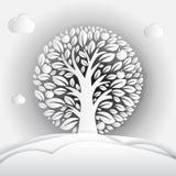 Paper art illustration of apple tree in circle. Vector design stock illustration