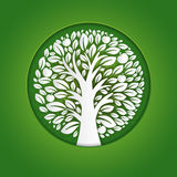 Paper art illustration of apple tree in circle. Vector design Royalty Free Stock Images