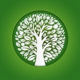 Paper art illustration of apple tree in circle. Vector design vector illustration
