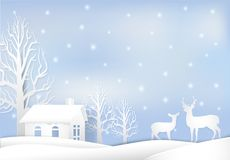 Paper art illustration of House and deer, Christmas season background paper cut style vector illustration