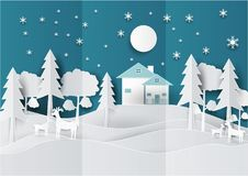 Paper art landscape of Christmas with Deer, Tree and House design. vector illustration.  Royalty Free Stock Images