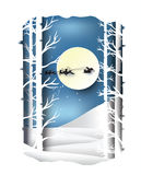 Paper art landscape of Christmas and happy new year with tree and house design. vector Stock Photography