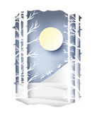 Paper art landscape of Christmas and happy new year with tree and house design. vector Stock Photo